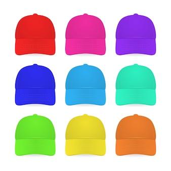 9 개의 다채로운 모자 흰색 절연입니다.