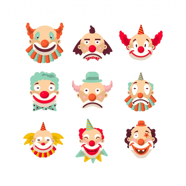 Nine colorful emotional clown portraits isolated on white