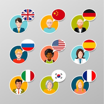 Nine colorful user avatars with different language speech bubbles
