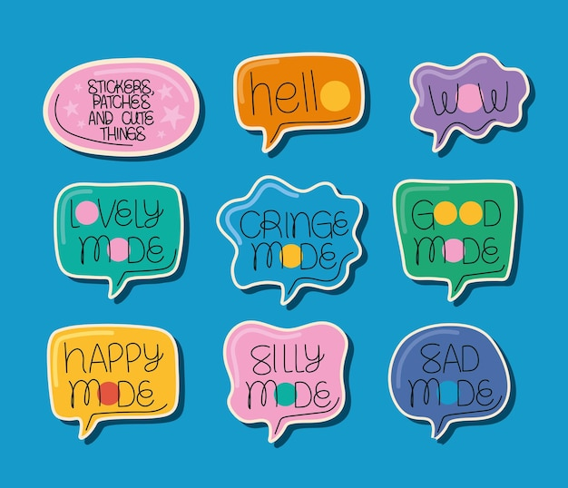 Nine cute stickers