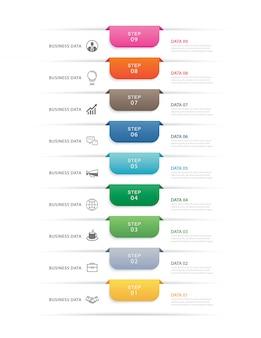 9つのデータステップインフォグラフィックタイムラインタブ紙インデックステンプレート。