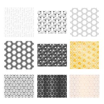 9つの異なる抽象的な幾何学模様