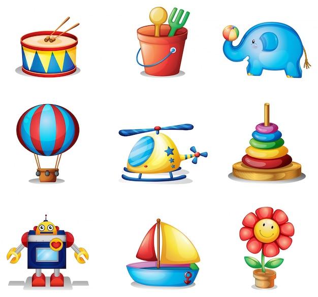Девять различных видов игрушек