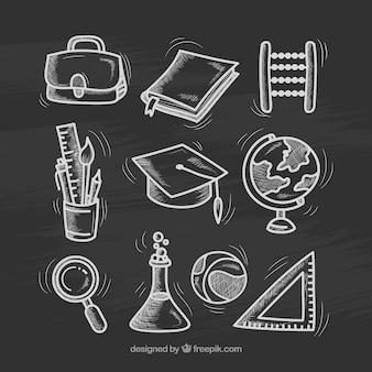 Nine different school elements in chalkboard style