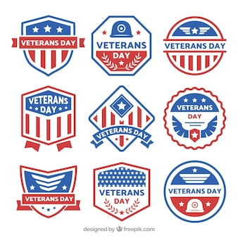 Nine different veterans day labels