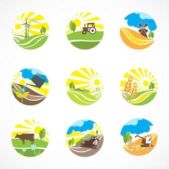 Nine farm scenes
