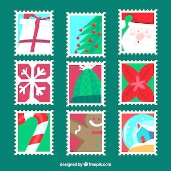 9 플랫 크리스마스 우표
