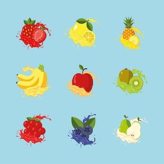 Девять фруктов брызги свежевыжатого сока