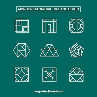Nine geometric monoline logos