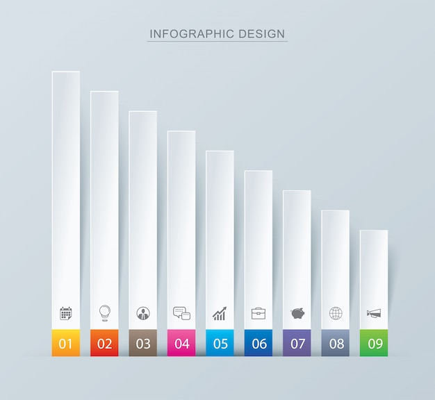 Nine graph data infographics tab paper index template.