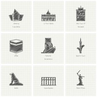 Disegno a matita del monumento mondo