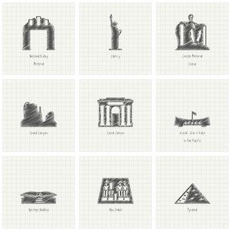 Nine hand drawn monuments