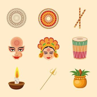 Девять счастливых наваратри иконок