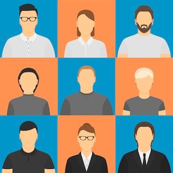Nine human avatars.