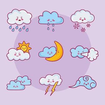 Nine kawaii clouds characters