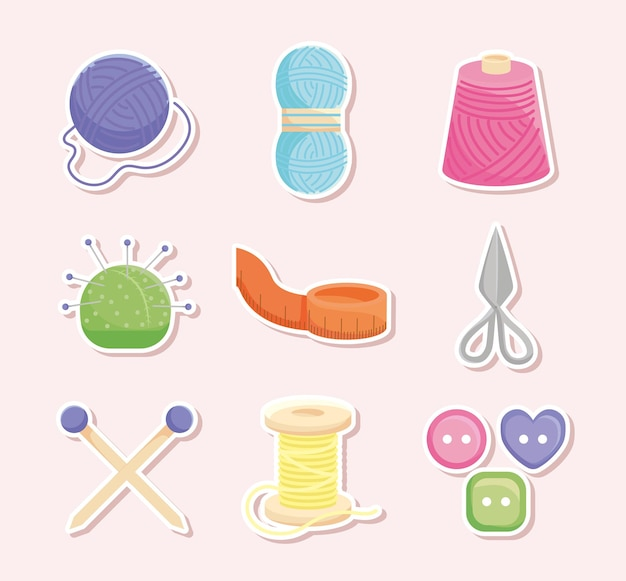 Nine knitting items