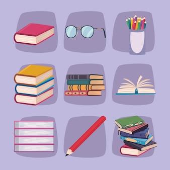 Nine literacy day set icons