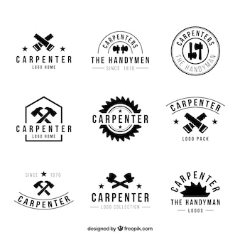 Nine logos for carpentry, black and white