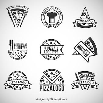Nine logos for pizza
