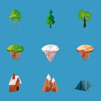 9つの低ポリ自然要素