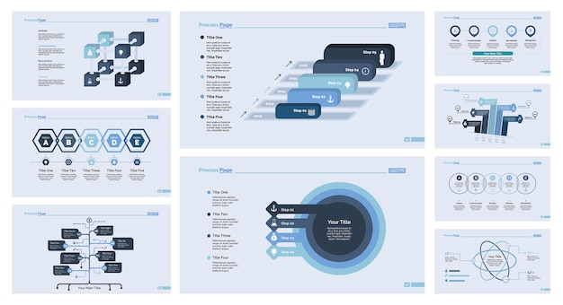 Nine marketing slide template set