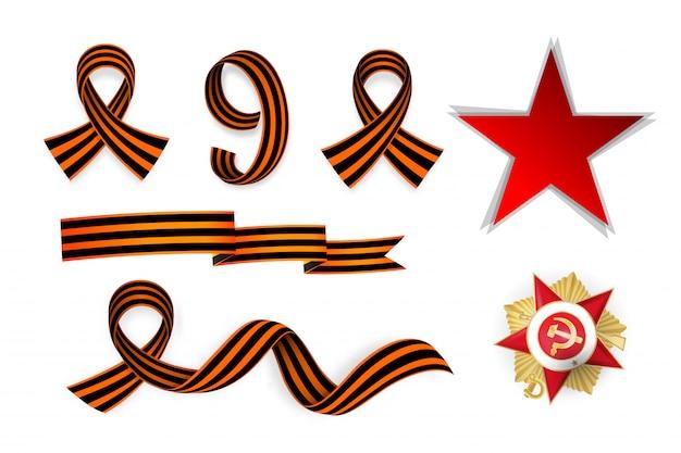 Nine of may victory day holiday set saint george ribbon