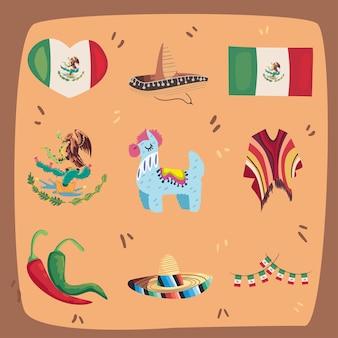 Девять мексиканских дней независимости набор иконок