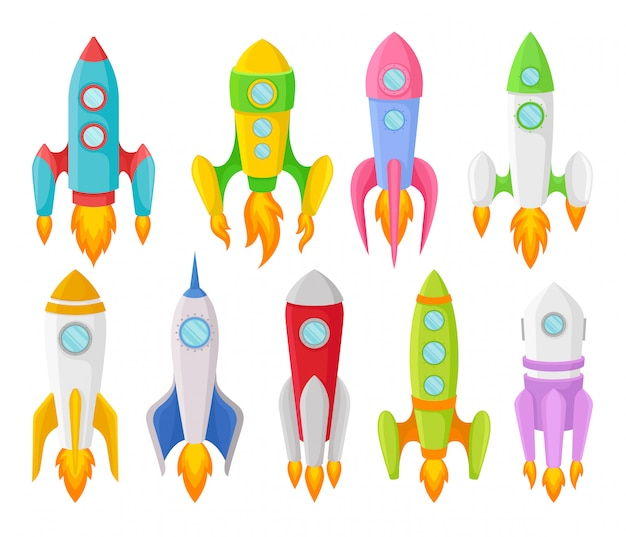 Nine multi-colored children rockets of different shapes.  illustration