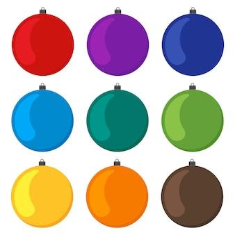 Девять разноцветных новогодних шаров на белом фоне. векторная иллюстрация.