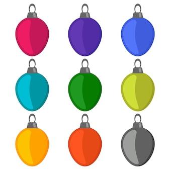白い背景の上の9つのマルチカラーのクリスマスボール。ベクトルイラスト。