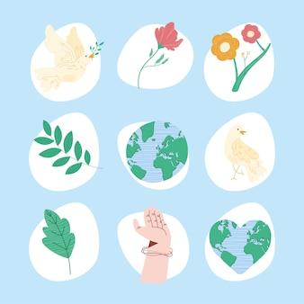 Nine pacifism world set icons