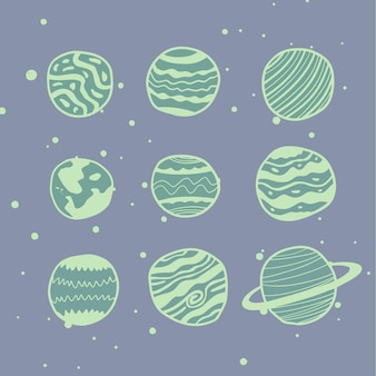 Nine planets vector in different styles. excellent for games, lettering and any customizations.
