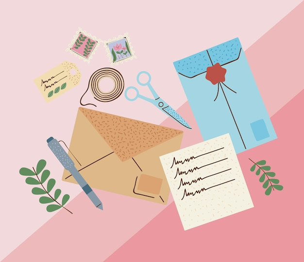 Nine postal service set icons