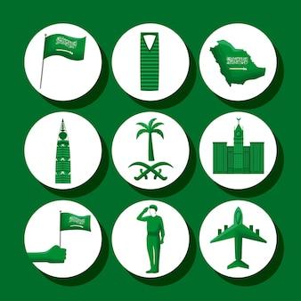 Nine saudi national day set icons
