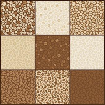 Nine seamless coffee beans patterns