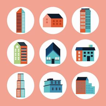 Девять наборов зданий город минимальный
