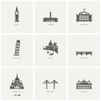 Nine sketches of monuments