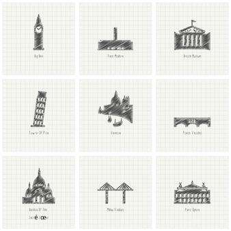 Punti di riferimento di fama mondiale scribble sfondo di carta