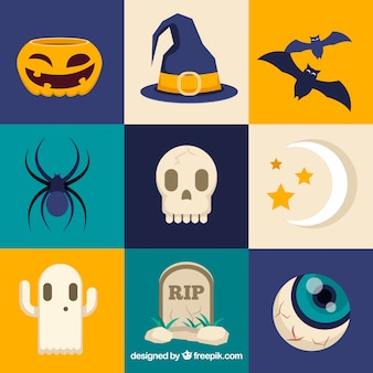 Nine square halloween themed stickers
