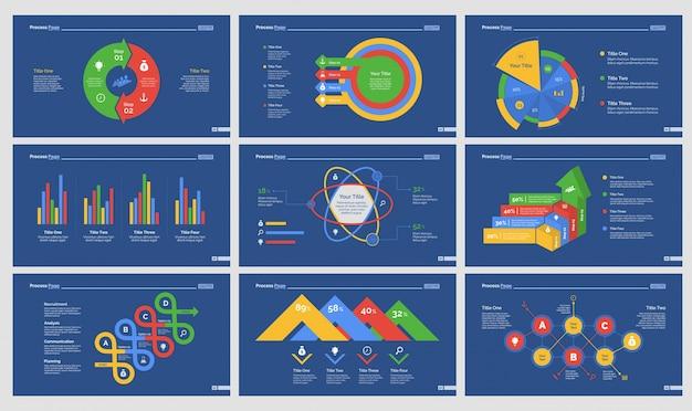 9つの統計スライドテンプレートセット
