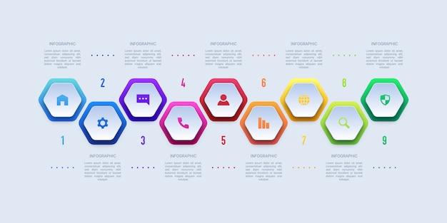 9つのステップビジネスインフォグラフィック