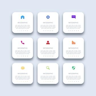 9つのステップモダンなビジネスインフォグラフィック