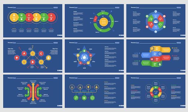 9つの戦略チャートスライドテンプレートセット