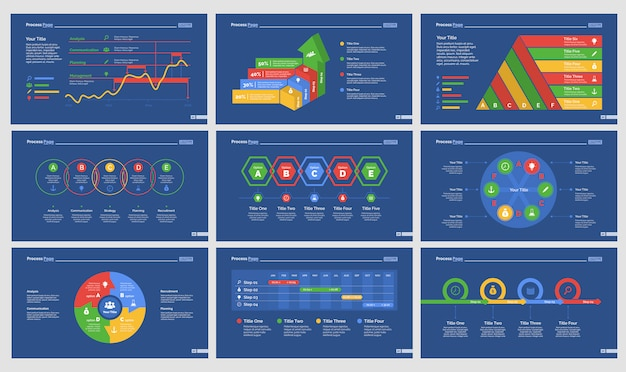 Nine strategy slide templates set