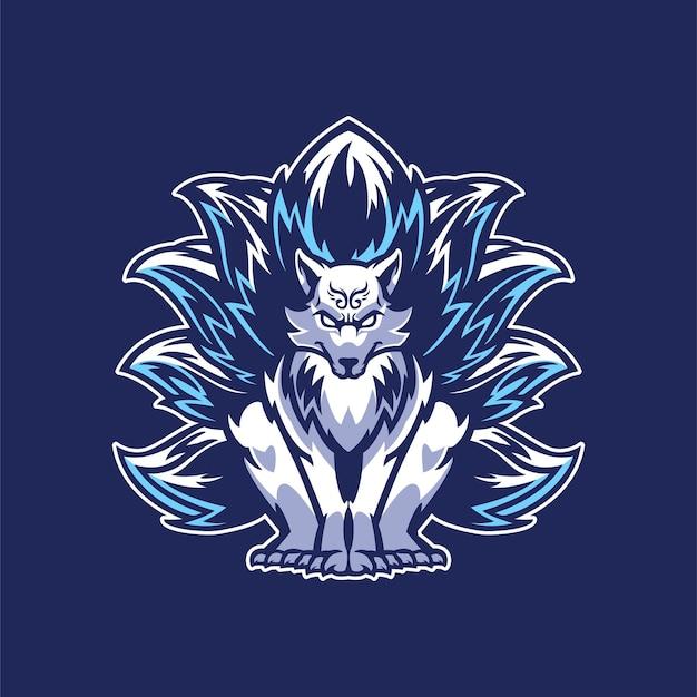 Nine tailed fox logo for gamer team mascot