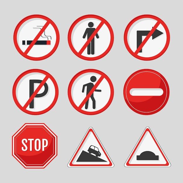 9개의 교통 도로 빨간 신호