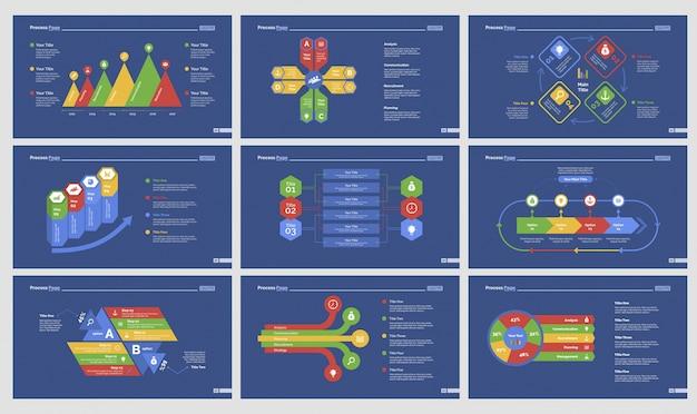 Nine training slide templates set