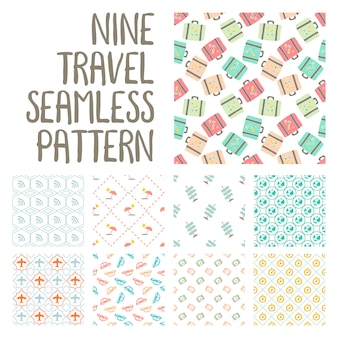 Nine travel seamless pattern illustration on pack vector