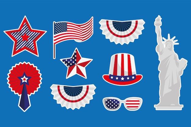 Nine usa independence set emblems