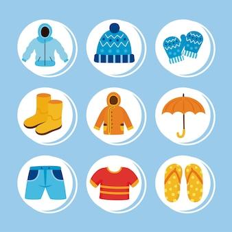 Nine weather seasonal set icons